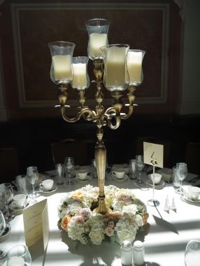 gold candelabra arrangement