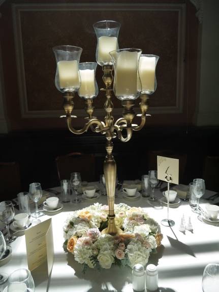 gold candelabra arrangement