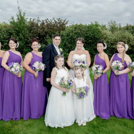 purple and white wedding flowers by Your London Florist