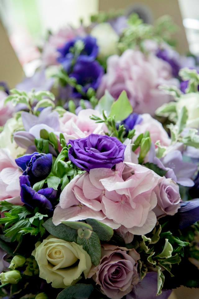 Purple and pink wedding flowers by Your London Florist