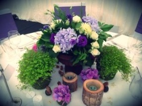 woodland wedding table arrangement by Your London Florist