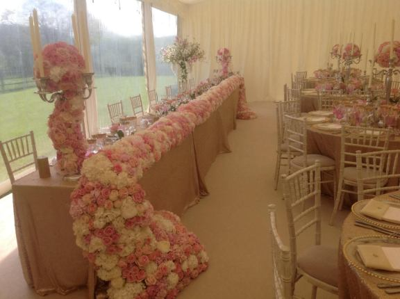 top table flower waterfall by Your London Florist