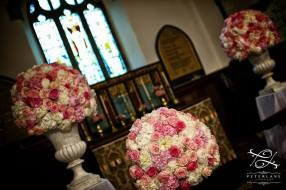pink and white flower pedestals by Your London Florist