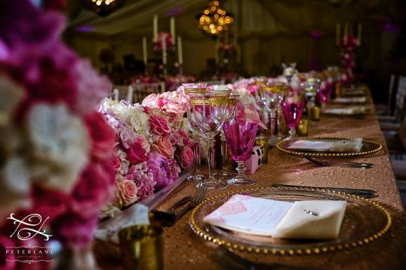 long and low top table flower arrangement by Your London Florist