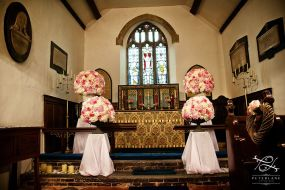 rose hydrangea and peony pedestals