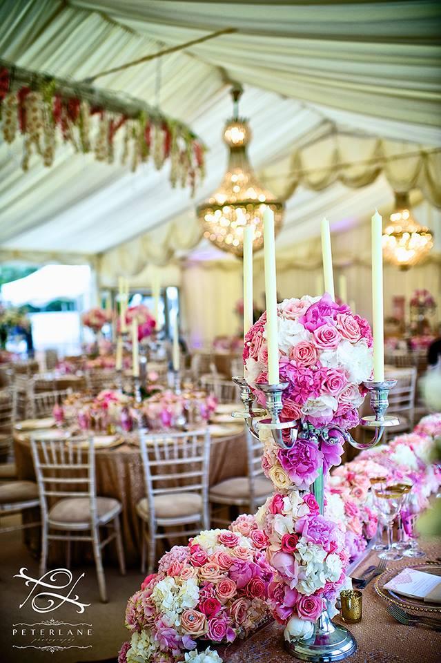 candelabra flower arrangement by Your London Florist