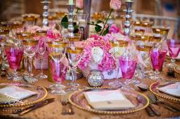 pink and white flower centerpieces by Your London Florist