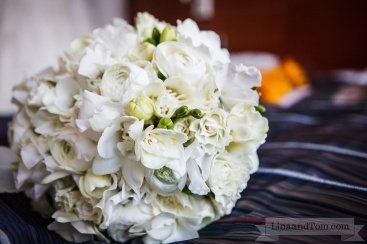 freesia, ranunculus, sweet peas wedding bouquet by Your London Florist