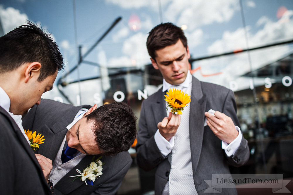 sunflower buttonhole by Your London Florist