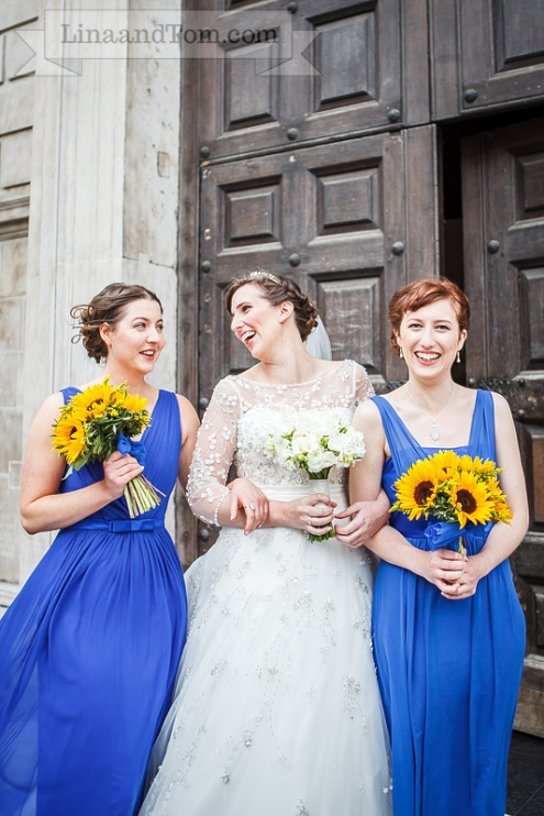 Sunflower wedding bouquets by Your London Florist