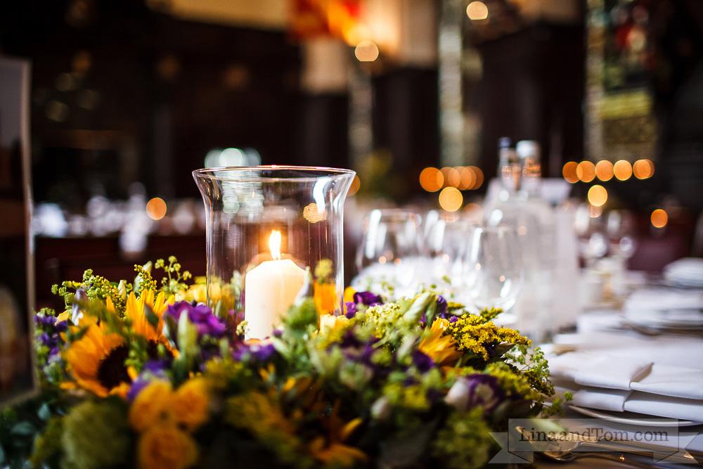 Wedding centrepiece - flower circle - wreath with hurricane vase candle holder