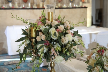 flowers on candelabras by Your London Florist