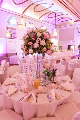 Tall flower arrangements with rose hydrangea and peonies by Your London Florist