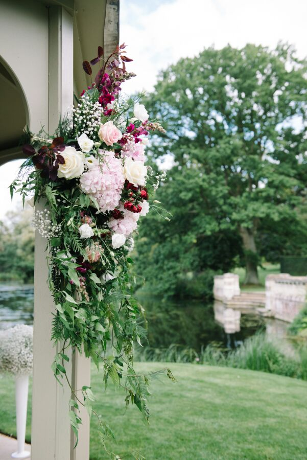 hydrangea and roses gazebo arrangement by Your London Florist