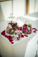 set of glass cloches with flowers by Your London Florist