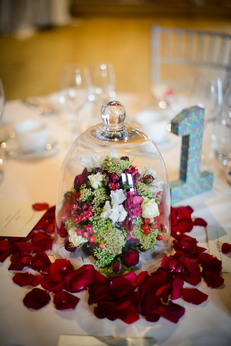 red and white flowers under glass cloche by Your London Florist
