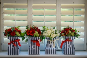 red and white wedding bouquets by Your London Florist