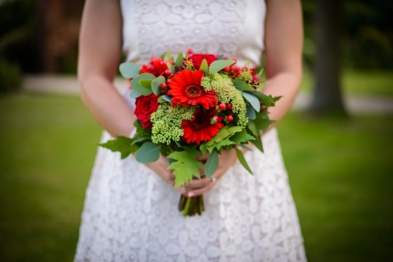 red gerber a wedding bouquet by Your London Florist
