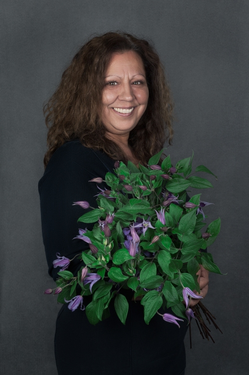 Maria with clematis