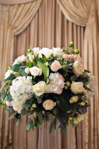 white and blush wedding flowers flower ball by Your London Florist