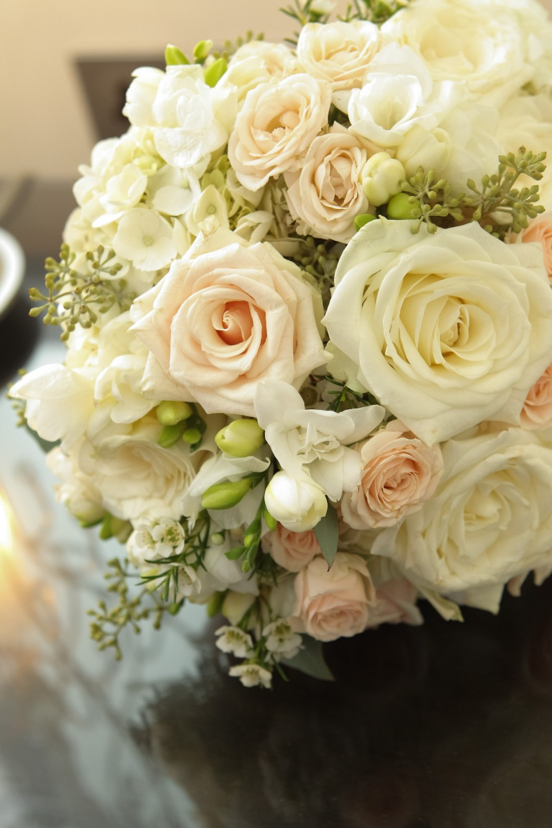 wedding bouquet cream and blush freesia and roses by Your London Florist