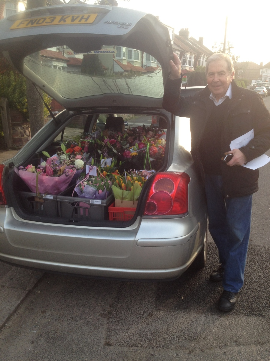 car full with flowers