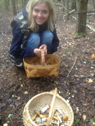 mushroom picking in a forest