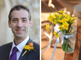 yellow buttonhole and flowers in a jam jar