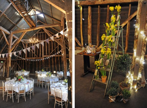 barn wedding flowers ladder seating plan