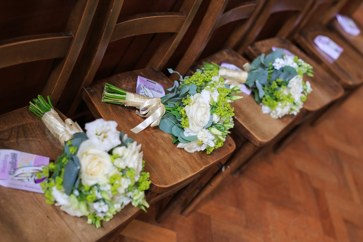 "White and green bridesmaids bouquets by ""Your London Florist"""