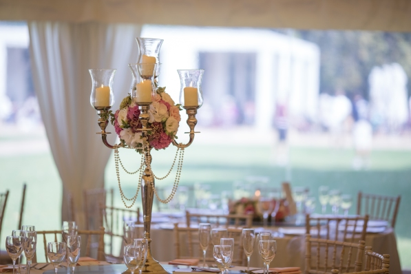 "Wedding table centerpieces candelabra flower arrangements by ""Your London Florist"""