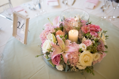 "Candle wedding centrepiece by ""Your London Florist"""