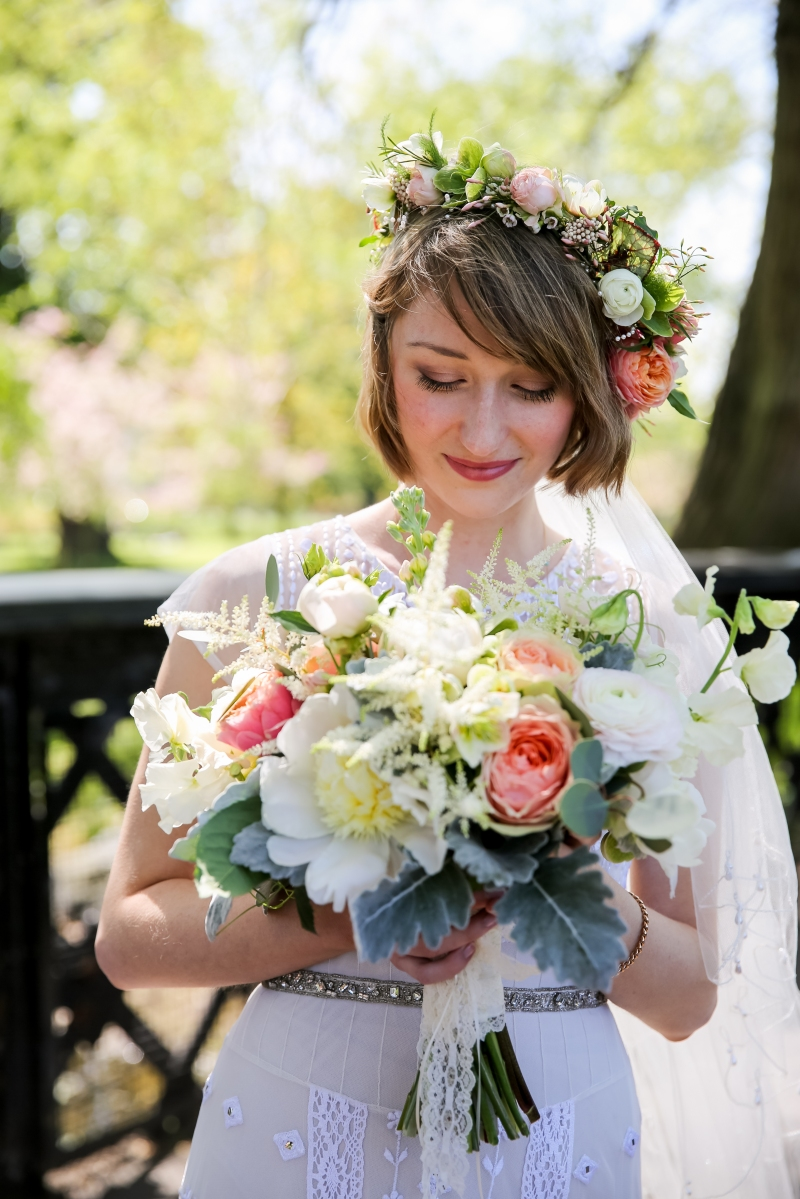 bridal bouquet of spring flowers peonies garden roses